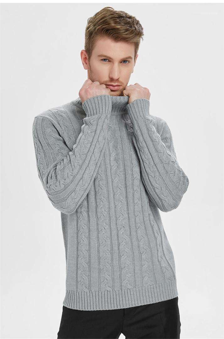 Мужские топы серый пуловер прямые повседневные Homme одежда осень и зима Мужские свитера полосатый сплошной Черепаха шеи