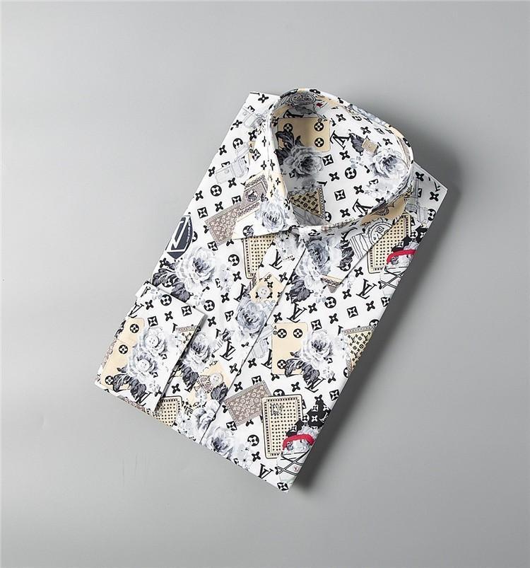 Camisa de moda para hombres Camisa de ocio de negocios Solapa de manga larga 2019 Nuevos productos Ropa de primavera y otoño Naipe estampado de flores