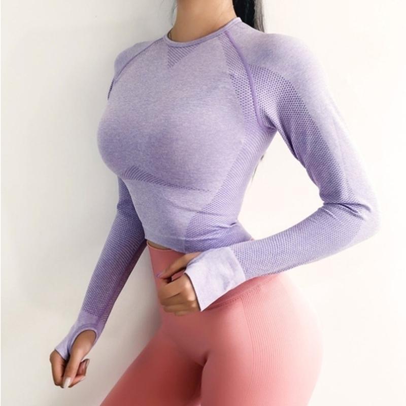 Yoga transparente Chemise à manches longues Crop Top Chemises sport avec le pouce trou Jersey Fitness Workout cours Gym Chemises femmes