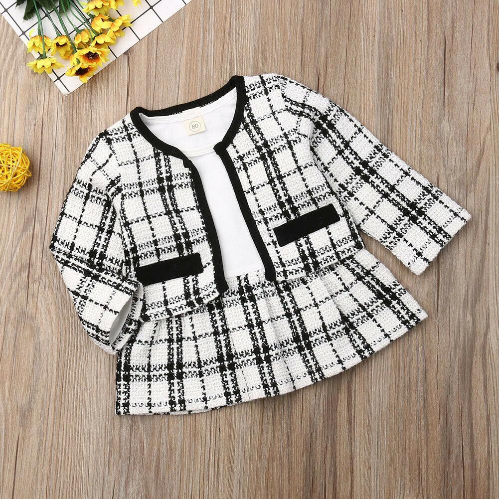 pudcoco 2019 Детская одежда Костюмы для девочек детской одежды малышей Enfant FILLE Infantis нарядах 2pcs Plaid платье + пальто T200707