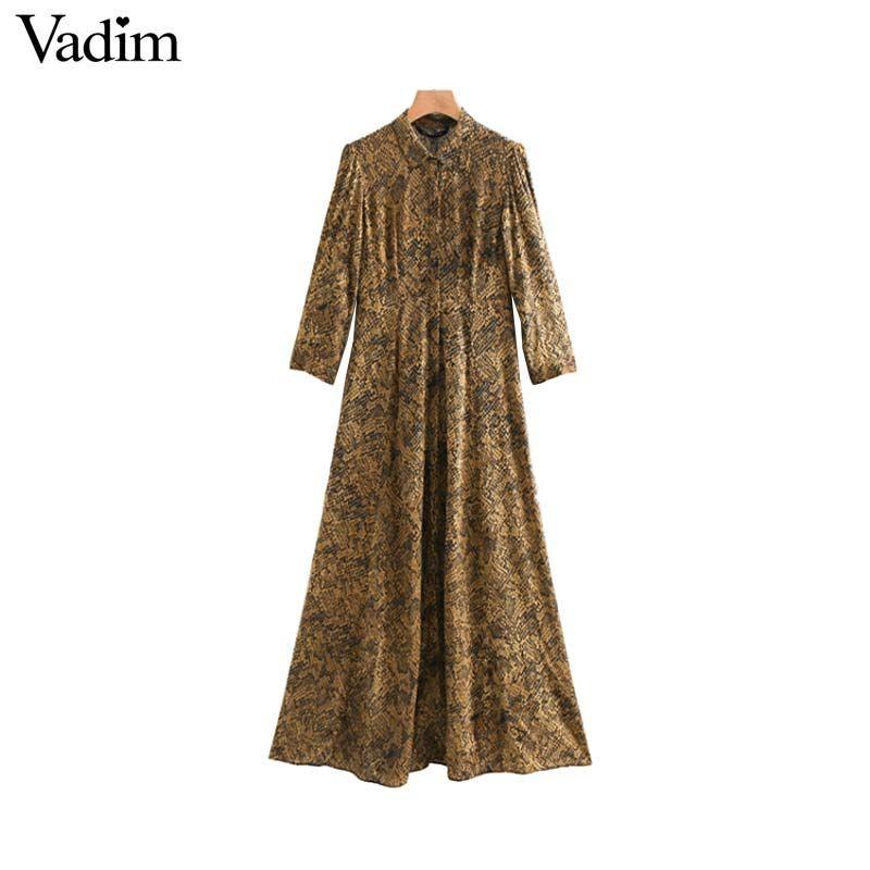 donne all'ingrosso stampa serpente abito camicia modello animale tre quarti manica vintage femminile casual chic abiti midi vestidos QA864