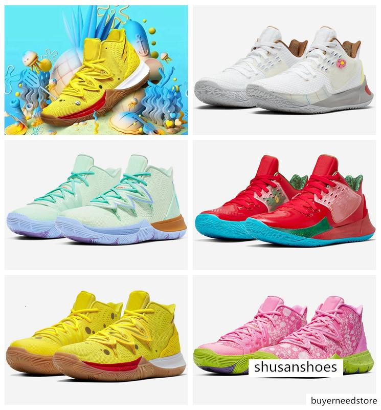2019 New Arrival Mens Kyrie Shoes TV PE Basketball Shoes 5 For Cheap 20th Anniversary Sponge x Irving 5s V Five Sneakers