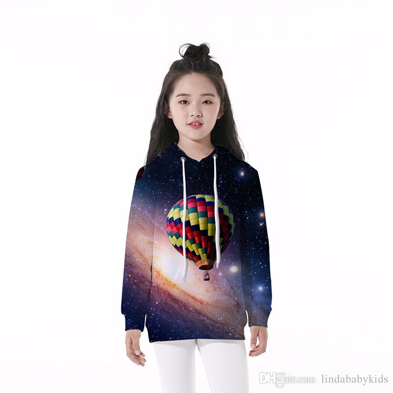 Kids Hoodie Abstract Space Balloon 3D Graphic Full Print Casual Boy Girl Sweatshirts Child Long Sleeves Pullover Hoodies Tops (RLCLM-55006)