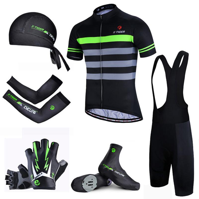 X-Tiger VTT Faire du vélo Vêtements Respirant vélo de course bavoir Vêtements Costume Flour Vert rapide Dry Pro Cycling été Set Jersey