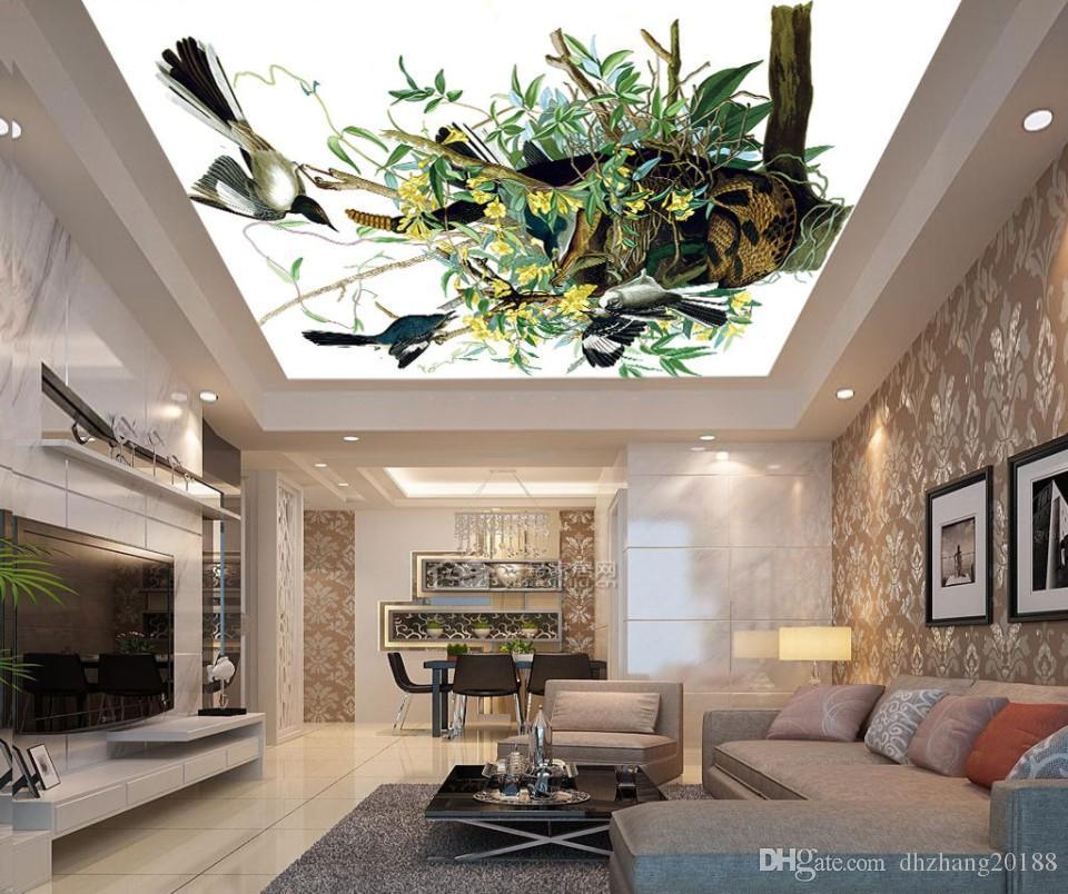 Современные 3D Фото обои Большая картина, цветы, птицы лист Wall Papers Главная Интерьер Декор Гостиная Потолок Lobby Mural обои