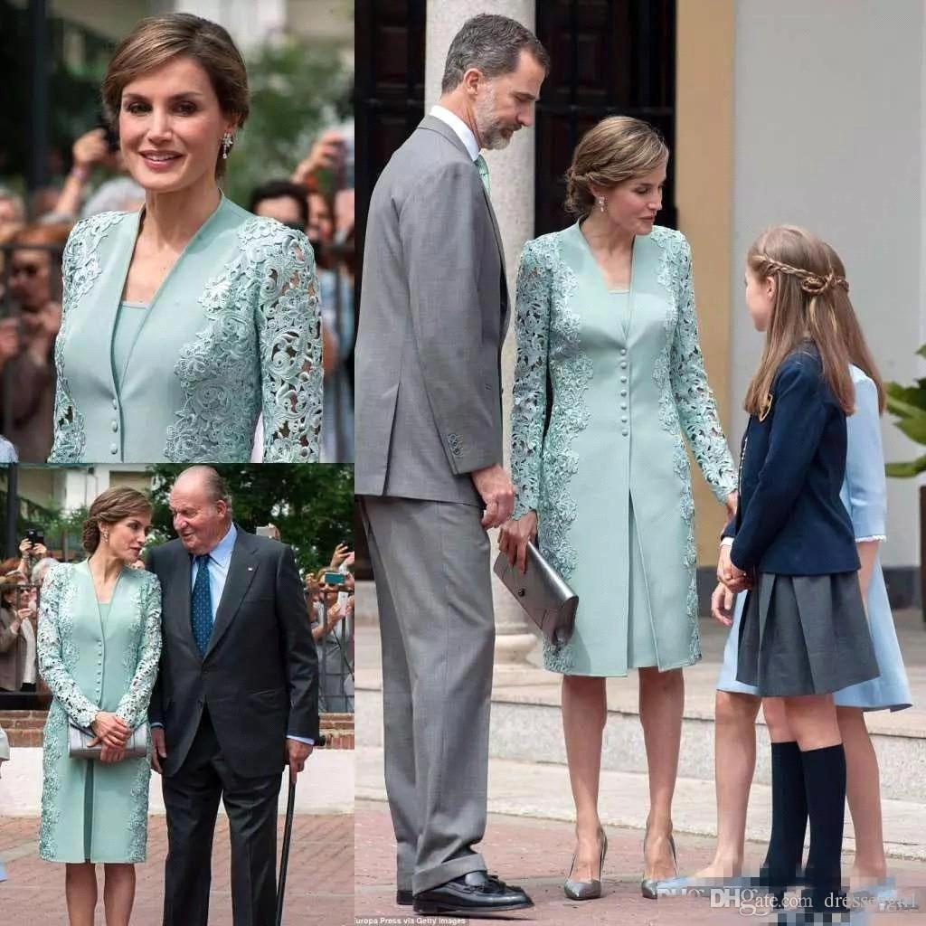 Elegant Sage Long Sleeve Mother Dresses Women Formal Gown Appliques Knee Length Mother of the Bride Dress BC1396