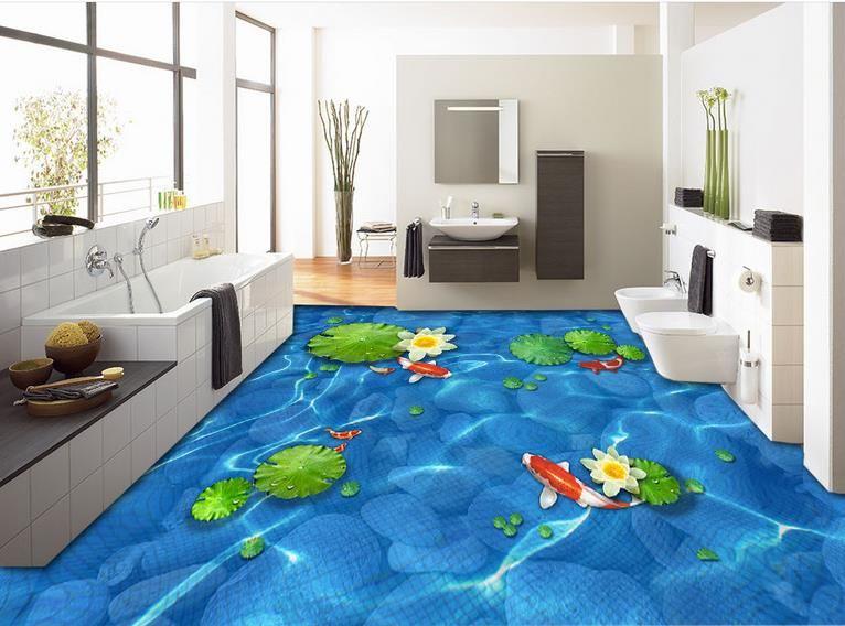 Custom Photo Floor Wallpaper Adoquines hoja de loto nueve peces Sala de estar 3D Baño Azulejos 3D Mural PVC Rollos de papel tapiz autoadhesivo
