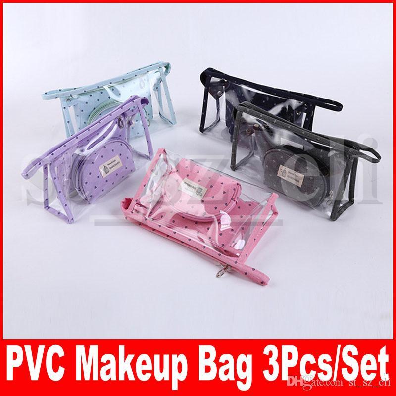 PVC Couronne Motif Cosmétique Sac Transparent Étanche Maquillage Sac avec Zipper Voyage Wash Case Poche Trousse De Toilette Organisateur Sac 6 Couleurs