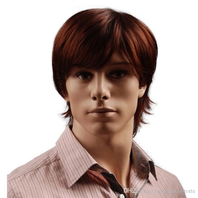 8 Inch Short Hair Synthetic Wigs for Men Natural Full Reddish Brown Straight Male Wig with Bangs Heat Resistant