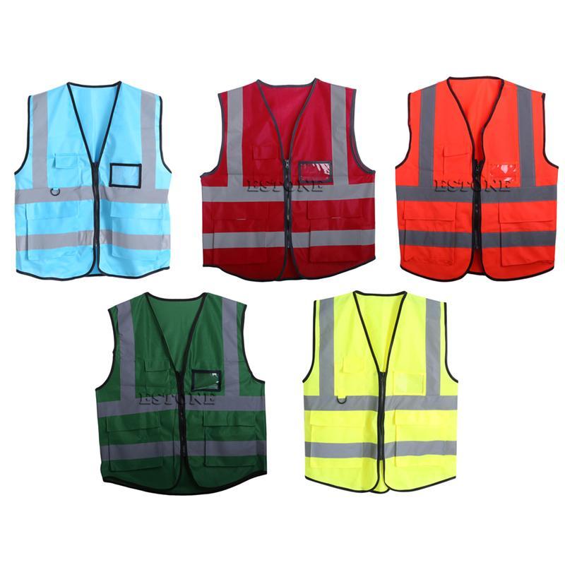 1 шт. Multicolor Hi-Vis Безопасный жилет Светоотражающий куртка Безопасность Жилет 5 Карманов