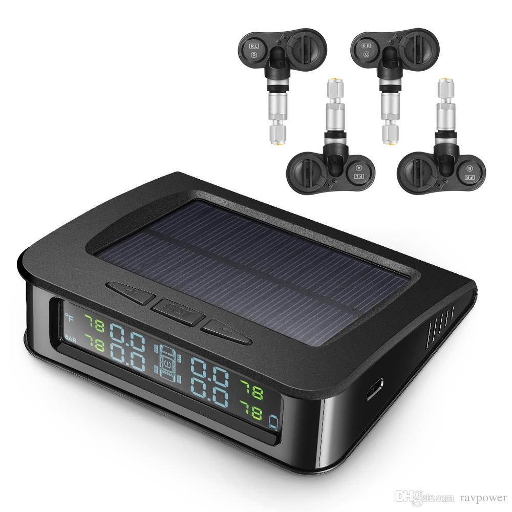 ZEEPIN C220 نظام مراقبة ضغط الإطارات TPMS الشمسية مع 4 أجهزة استشعار داخلية
