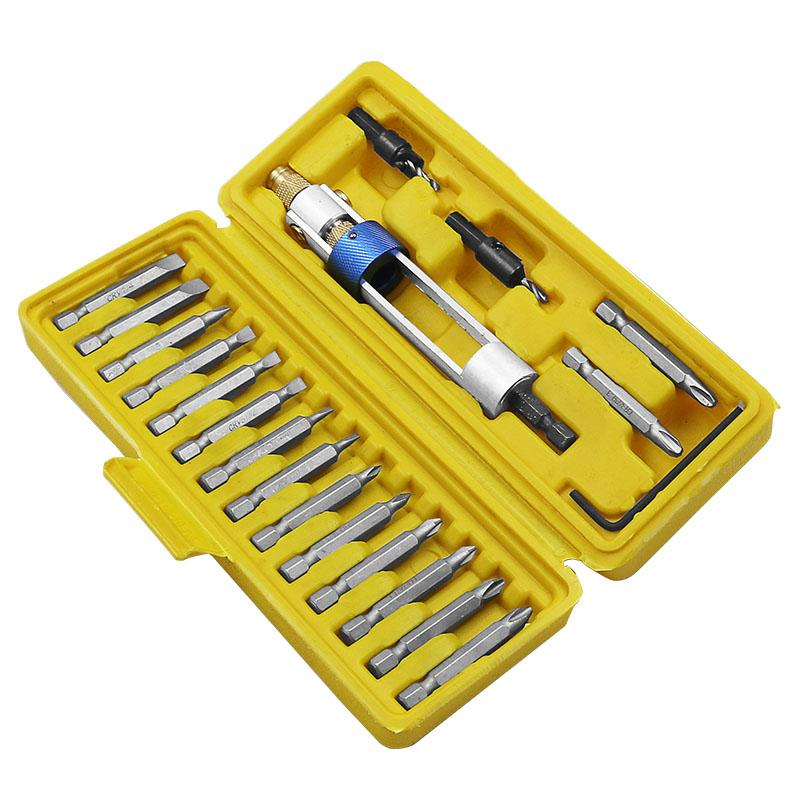 20Pcs Half Time Drill Driver Multi Smart Screwdriver Sets Updated Version 16 Different Kinds Head with Countersink Bits Yellow