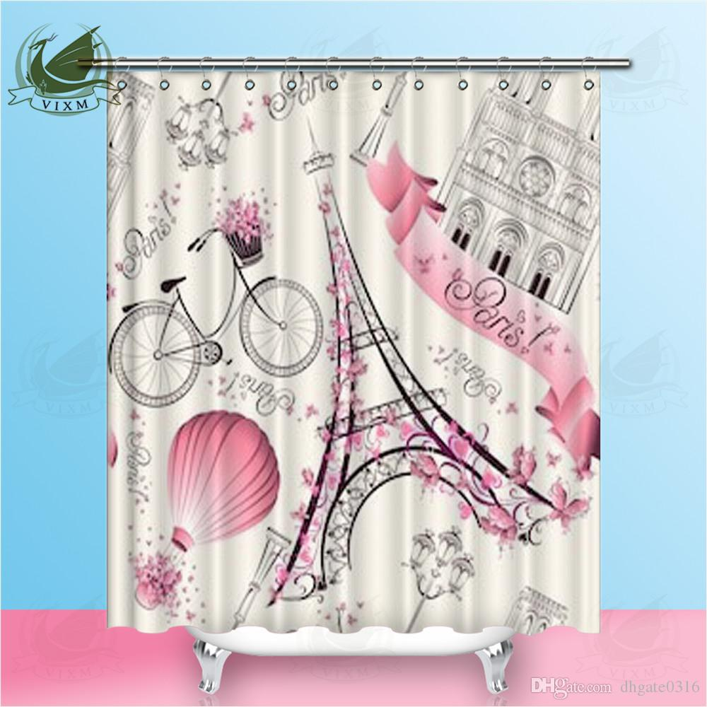 Vintage Shower Curtain Paris Eiffel Tower View Print for Bathroom