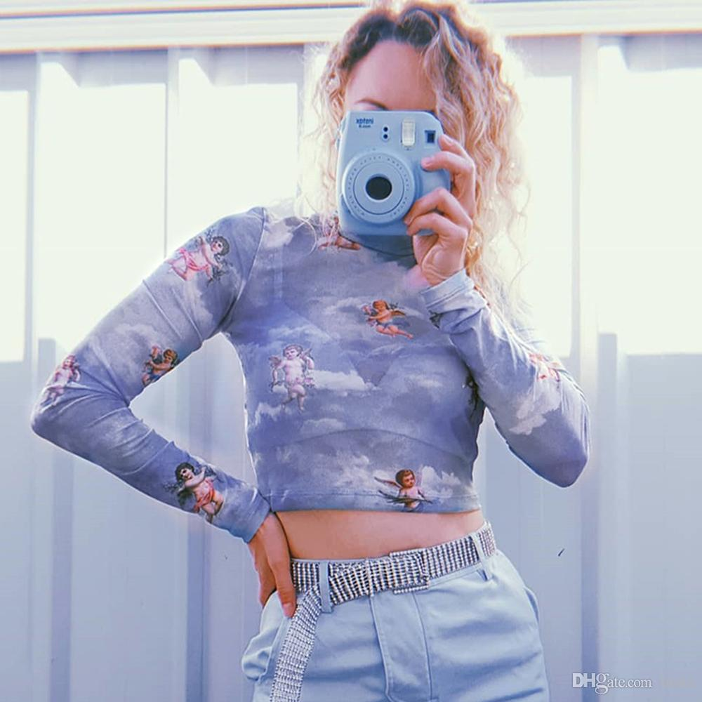 New Fashion Women Camisoles Retro Element Sheer Mesh Turtleneck Crop Top See-through T-shirt Tops Sexy Clothes High Street Outfits
