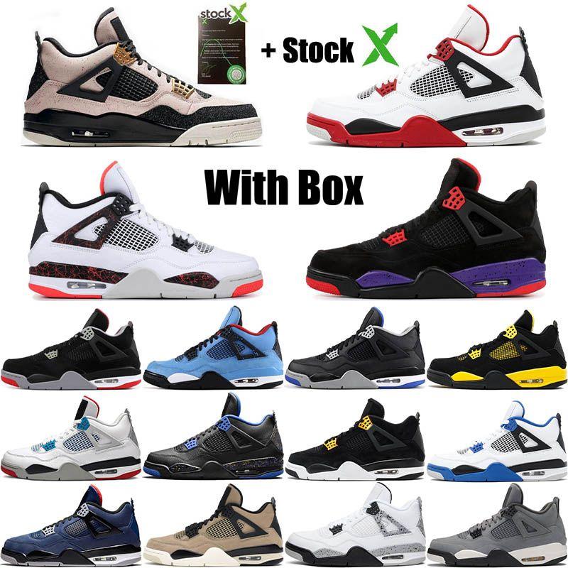 2020 Bred Kara Kedi 4 4s Basketbol ayakkabı erkekler beyaz Çimento Encore Wings Ateş Kırmızı Singles Tasarımcı Sneakers IV Saf Para Erkekler Eğitmenler