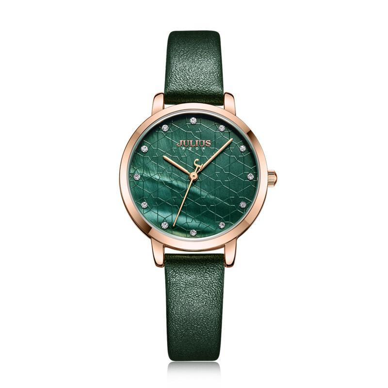 Julius Watch Green Women Leather Fashion Stylish Quartz Wristwatch Rosegold Stainless Steel Back case JA-1178