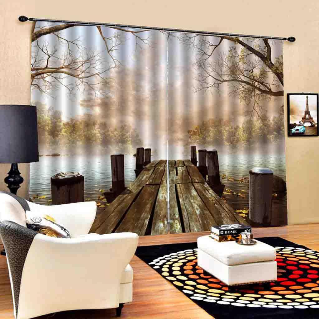 cenário costume estereoscópica cortinas madeiras birdge cortina da janela Blackout Luxo conjunto 3D Cortinas para quarto cama sala
