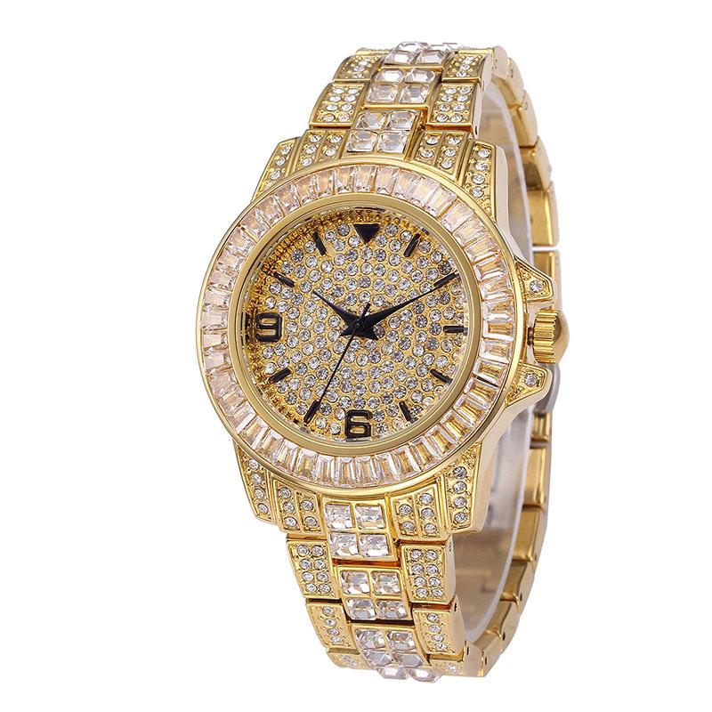 Iced Out Men Gold Bracelet Hip Hop Micro Paved Cubic Zirconia Bling Watch Band Link Chain Bracelets Bangles For Men Jewelry