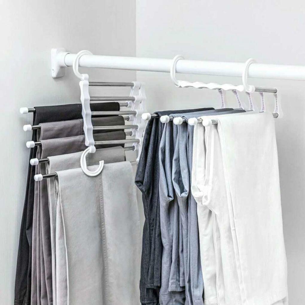 Cabide de roupa portátil Calças multifuncionais Cremalheiras de aço inoxidável calças de calças roupas de armazenamento de roupas