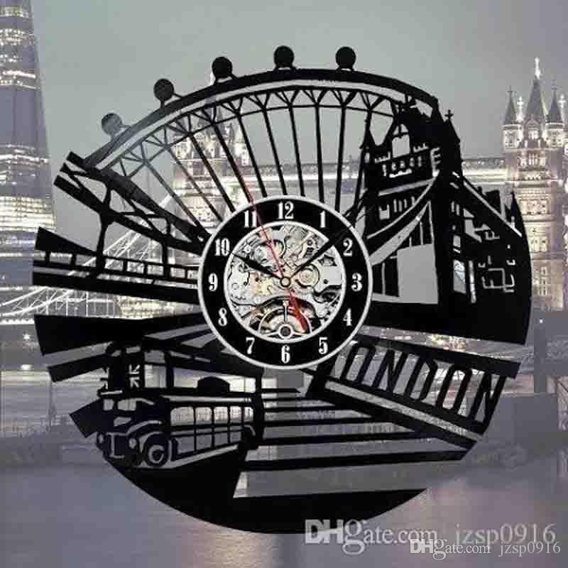 UK London City Vinyl Wall Clock LP Record Home Decor main cadeaux personnalité Art (Taille: 12 pouces, Couleur: Noir)