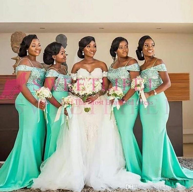 2020 아프리카 민트 그린 어깨 머메이드 신부 들러리 드레스 바닥 길이 민소매 섹시한 흑인 소녀 웨딩 게스트 댄스 파티 드레스