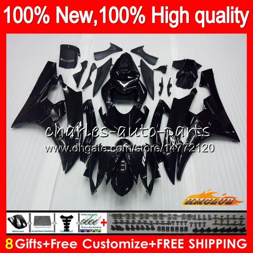 Cuerpo OEM para YAMAHA YZF R6 YZF 600cc 600 YZF600 06-07 Marco 61HC.28 YZFR6 YZF600 YZF R6 YZFR6 06 07 2006 2007 Kit carenado negro brillante