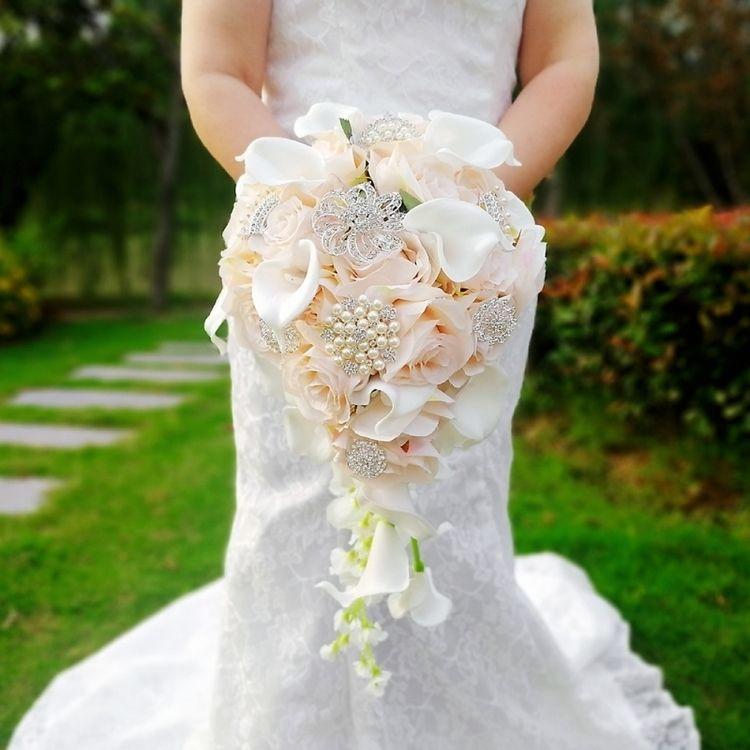 Wasserfall Rosa Hochzeit Blumen Weiße Calla Lilien Brautsträuße Künstliche Perlen Kristall Braut Bouquet Party Dekoration De Mariage Rose