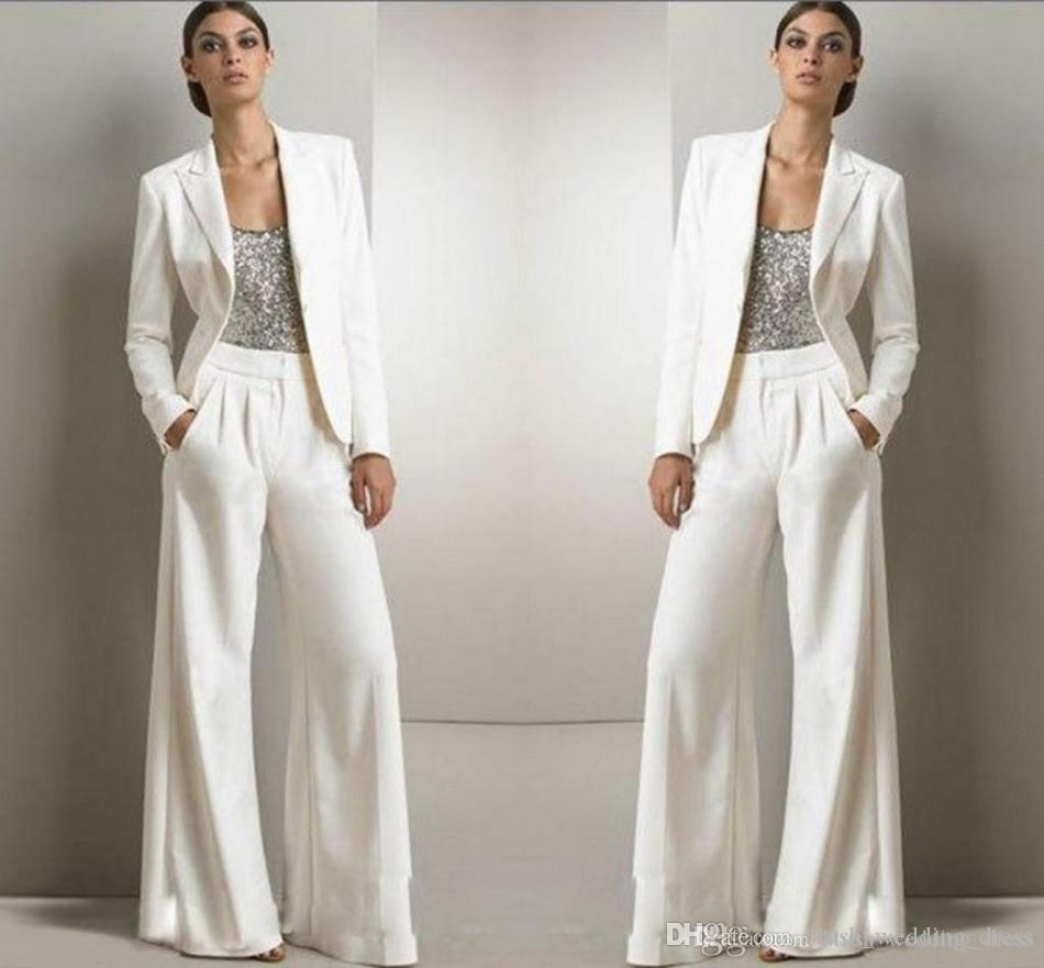 عام 2020 سترات جديدة من البلونغ السراويل البيضاء العاجية تناسب أم العروس فساتين رسمية شيفون Tuxedos حزب النساء ارتداء أزياء جديدة متواضعة