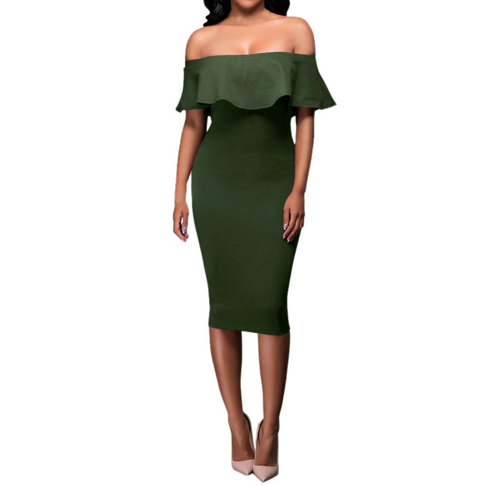 Yeni Moda Seksi Kadın Elbiseler Lady Kadınlar için Kapalı Omuz Kısa Kollu Bodycon Akşam Parti Elbise Slash Boyun Yüksek Kalite