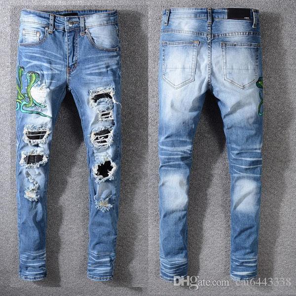 Moda Masculina Jeans Pista de Jeans Motociclista Slim # 1152 Hiphop Skinny Homens Denim Rasgado Corredores Calças Masculinas Wrinkle Jean Calças
