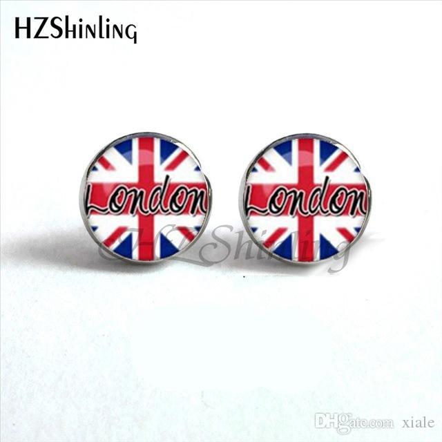 2019 Steampunk British Flag Earrings Old London Ear Stud Jewelry American Flag Earrings Glass Cabochon Earrings HZ4 NES-0028