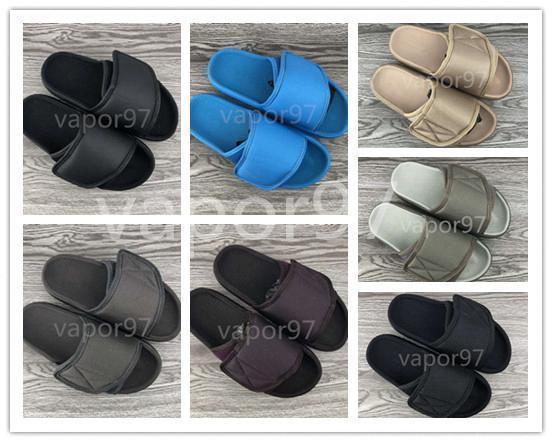 2020 Kanye сезон 7 слайды высокое качество лето Мужчины Женщины сандалии 6 лоскут тапочки черная вышивка пляж крытый открытый тапочки размер 35-46cefd#