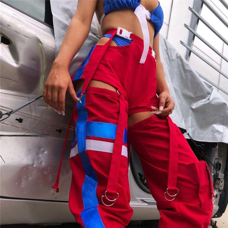 Autunno nuove donne di modo Pantaloni Cuciture Hollow Hit the Hip Hop fascio Tide carta Pantaloni Casual Tuta
