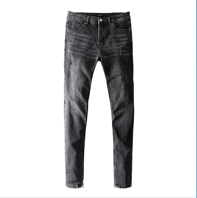 Novos designs Marca Jeans roupas de grife Pants Off Road Black Panther soldado magro dos homens Denim Hetero motociclista Buraco Hip Hop Jeans Men