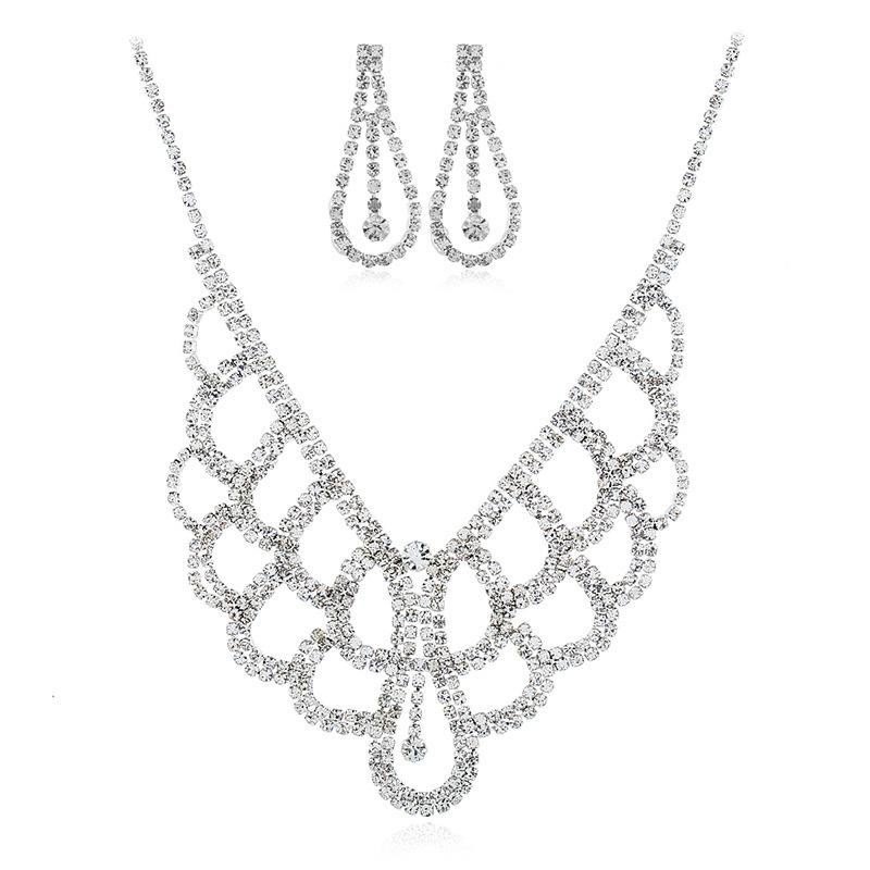 Collar de novia Pendientes dos juegos de goteo de agua taladro traje de novia Collar accesorios de joyería de boda