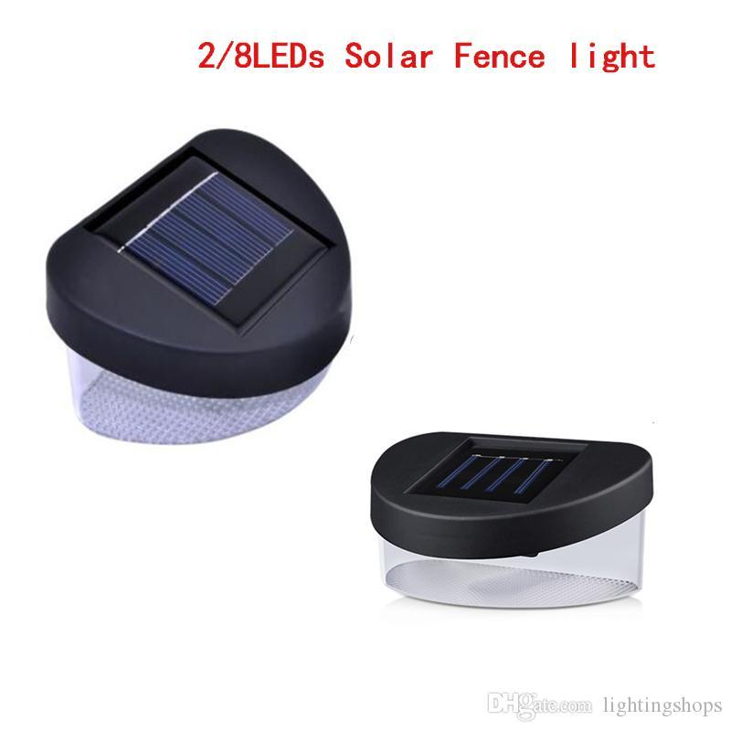 Clôture solaire LED mur Lampe solaire de puissance LED Porche Lumière 2LEDs 8LEDs Lampes de jardin pour l'extérieur Paysage Pelouse Gutter