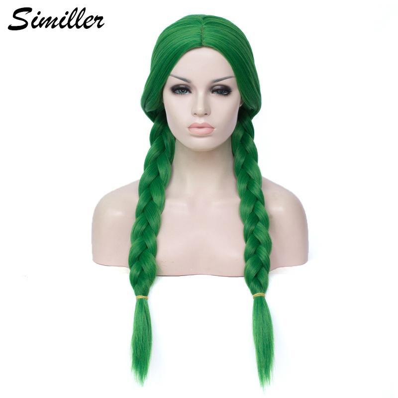 Similler longas tranças Box Tranças Perucas para Fiber Central Cabelo verde escuro Mulheres alta temperatura peruca sintética