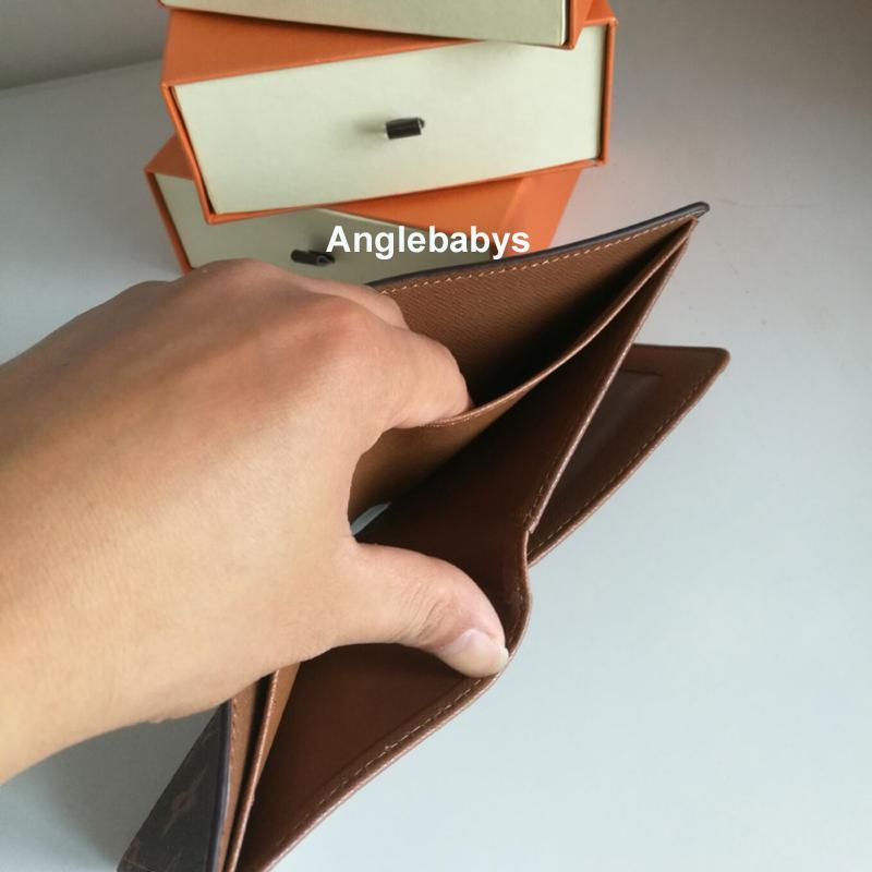 Portafoglio uomo Portafogli Portafogli Bifold degli uomini brevi portamonete coppie Fold del supporto di carta del supporto del passaporto Donne lungo piegato borsa Photo Pouch con la scatola