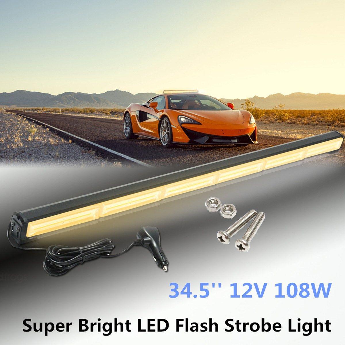 Freeshipping 6 LED 34.5Inch 12V Car External Lights Emergency Warning Lights Tow Traffic Advisor Flash Strobe Light Beacon Bar 108W