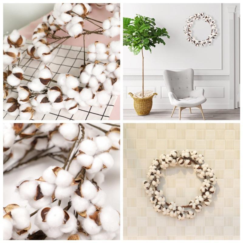 Cotone artificiale fai da te Corona cotone Bolls ghirlanda di fiori Per la casa Hanging Housewarming Decorazioni di Natale