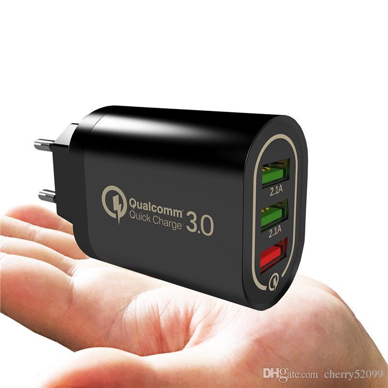 아이폰 아이 패드 삼성 화웨이 샤오 미 3 USB 포트와 QC 3.0 빠른 벽 충전기 급속 충전 어댑터