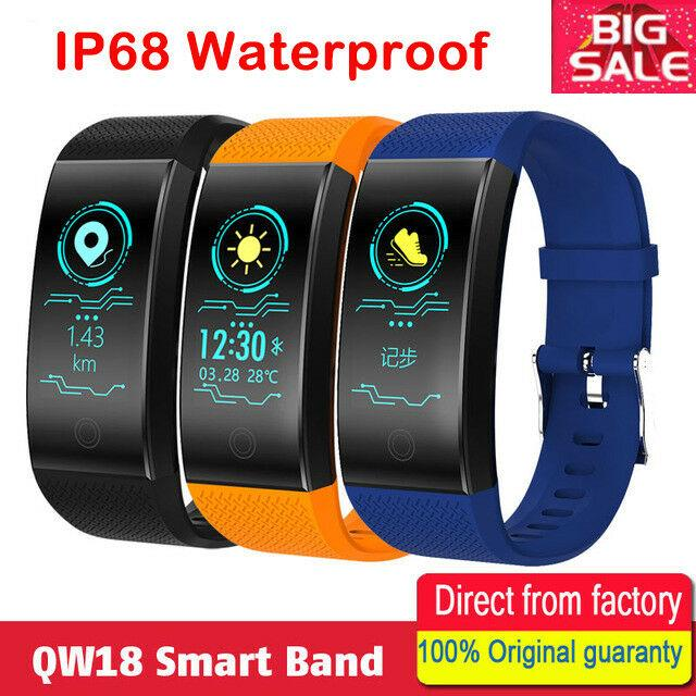 QW18 Waterproof Smart Watch Blood Pressure Heart Rate Monitor Sleep Sports Fitness Tracker With Retail Box