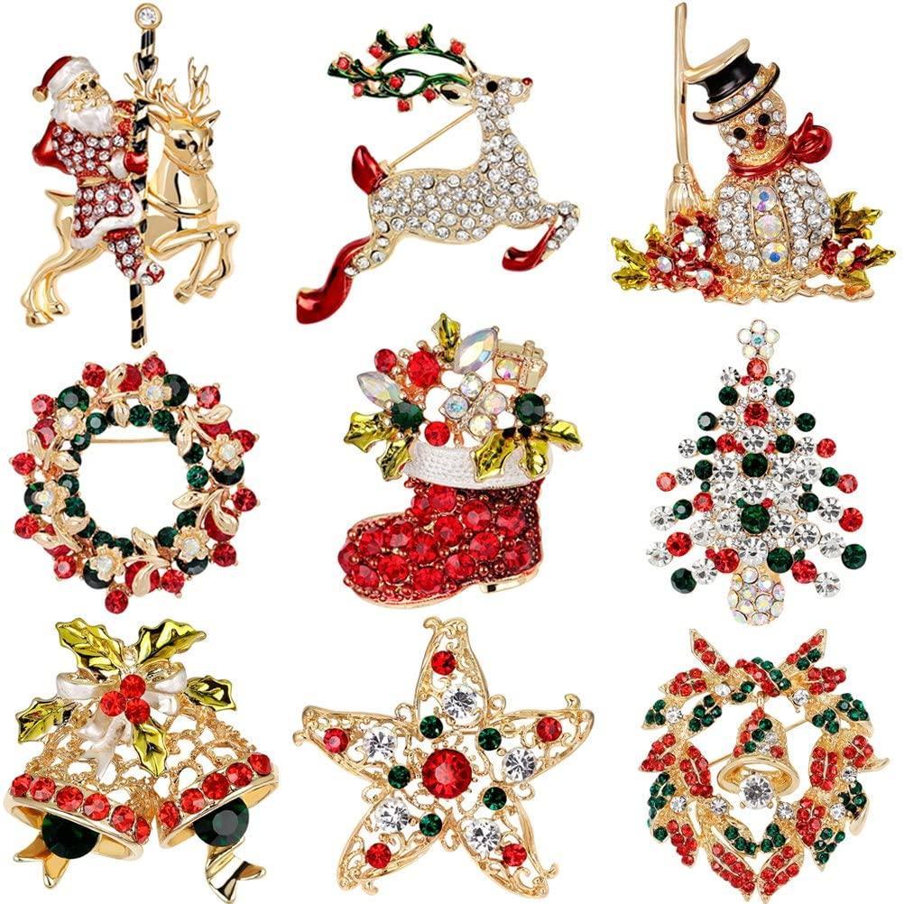 9 Paquete multicolor de cristal broche del Rhinestone del Pin Set para los regalos de Navidad Decoración Adornos