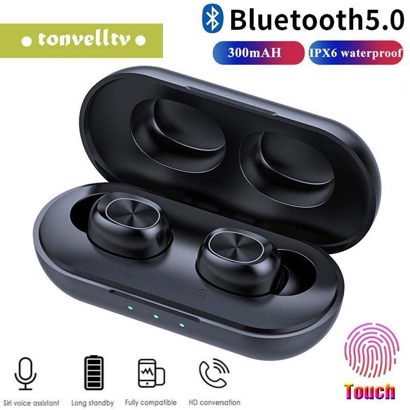 TWS inalámbrica Bluetooth 5.0 para auriculares estéreo 3D táctil de Bluetooth Headset AI control JMPOZ B5 Auricular con el Mic para el teléfono elegante
