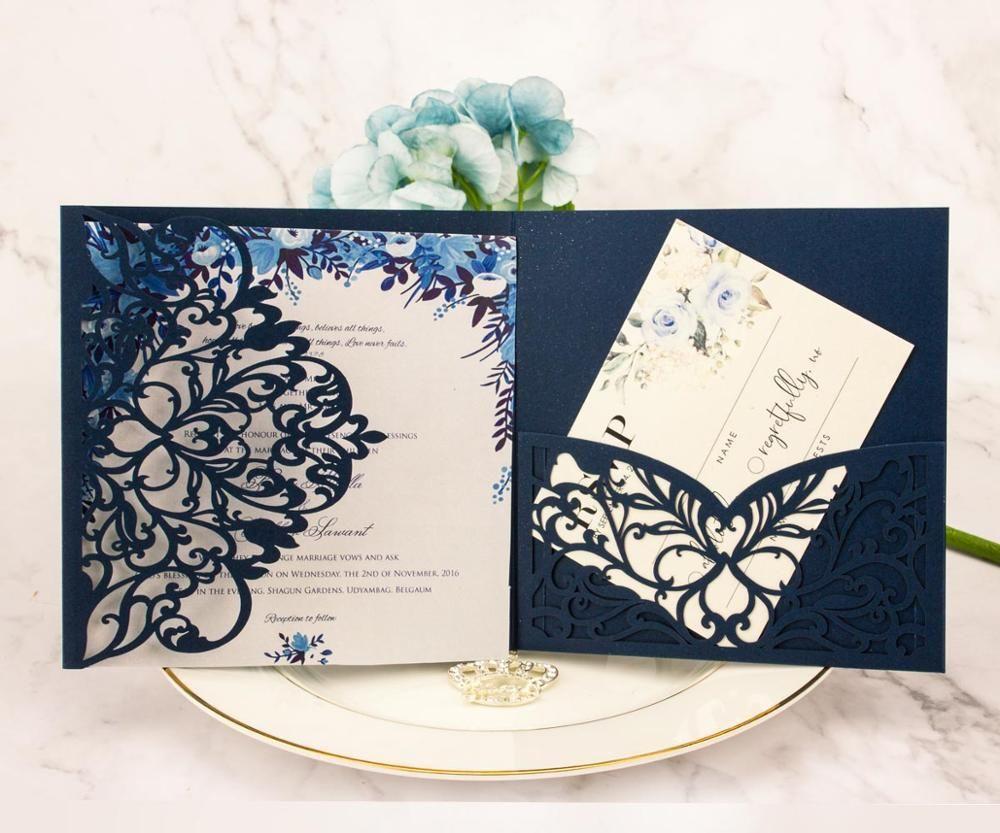 Trasporto libero 1pcs Blush Pink Navy blu Laser Cut ripiegabile Matrimonio Inviti Kit busta personalizzata Pocket Invita RSVP