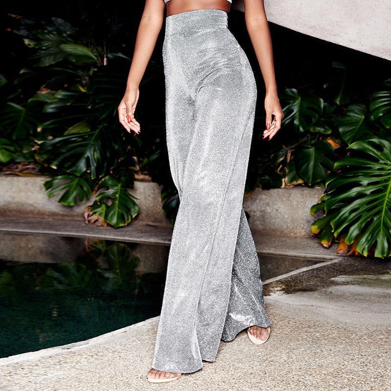 2019 été femme Pantalons élastique WaistTrousers femme mince sequin de taille haute Parti Clubwear Mode Femmes Pantalons longs Y200114