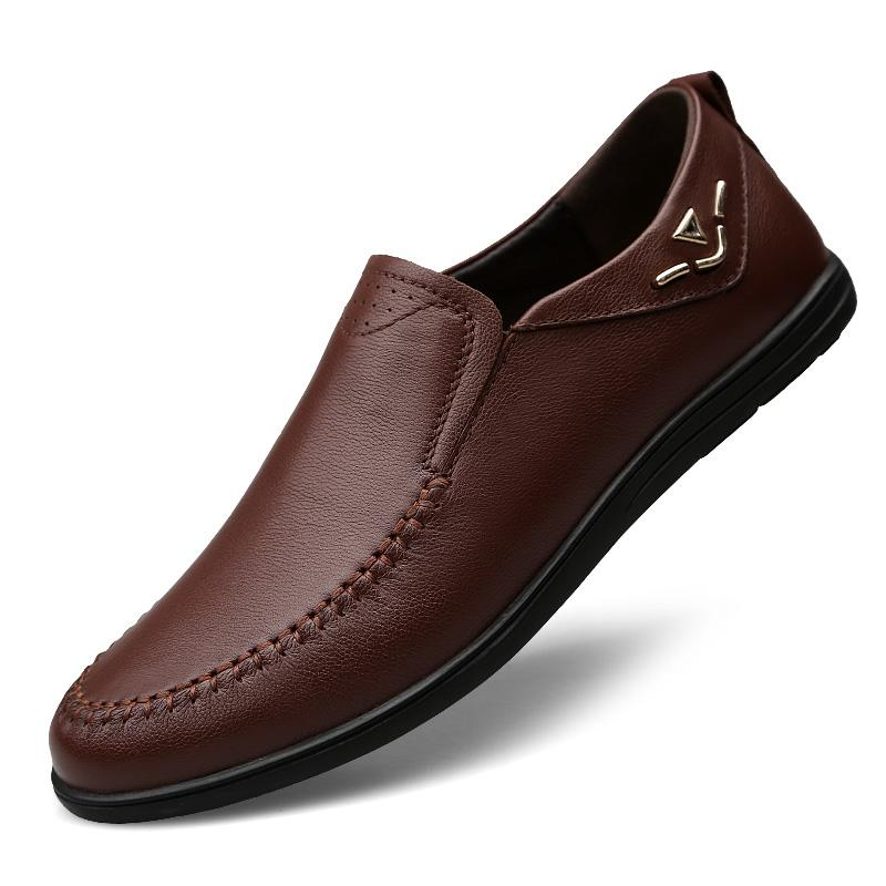 2019 New Men's Genuine Leather Loafers Extra Soft Shoes Man Casual Slip-on Driving Shoes Men Loafers Anti Slippery Flats