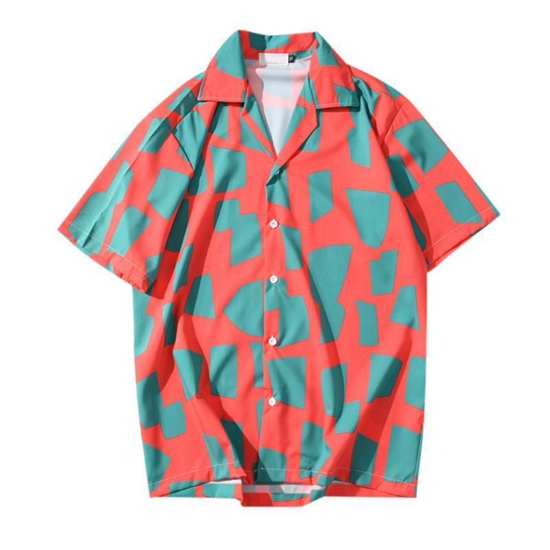 Mens Shirt Summer Blouse Hawaiian Shirt Short Sleeve Beach Wear Top Loose Blouse Casual Men Male Clothing