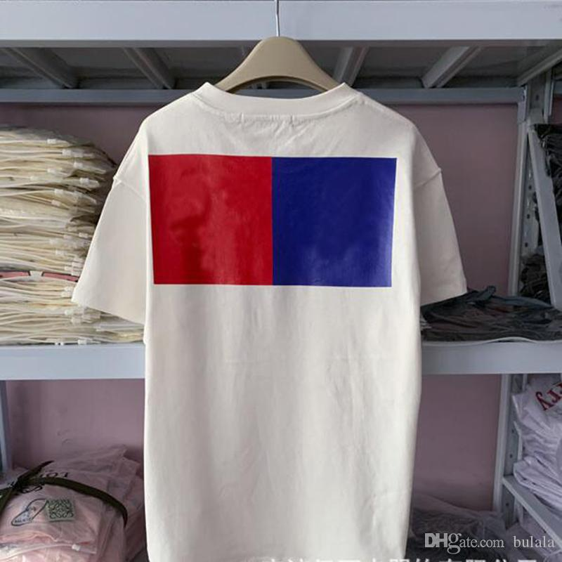 Quadrado azul Red Mens T Shirt Vintage Flor 100% algodão Homens Mulheres Summer Fashion Imprimir Casual Rua solto Man Tops TShirts
