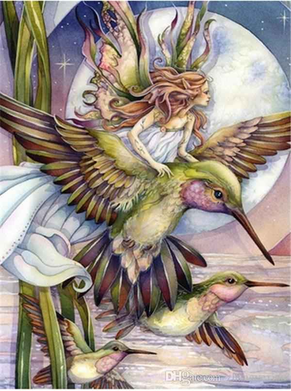 5DDIY Diamond Painting Embroidery Hummingbird Cross Craft Stitch Kit Home Decor